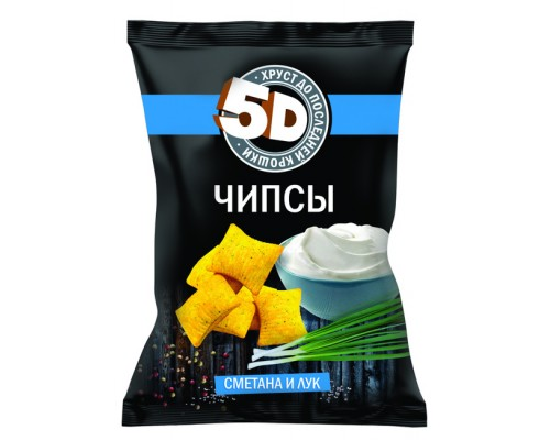 Чипсы пшеничные «5D» со вкусом «Сметана и лук» 193г
