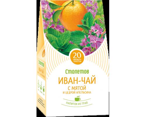 """Чайный напиток Столетов """"Иван-чай с мятой и цедрой апельсина"""" 20 пак"""